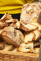 A big loaf of country bread cut up in succulent pieces. Ferme de Biorne duck and fowl farm Dordogne France