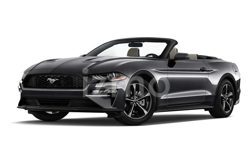 Stock pictures of low aggressive front three quarter view of a 2018 Ford Mustang EcoBoost 2 Door Convertible