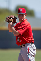 Los Angeles Angels relief pitcher Marc Brakeman (81) prepares to deliver a pitch during an Extended Spring Training game against the Chicago Cubs at Sloan Park on April 14, 2018 in Mesa, Arizona. (Zachary Lucy/Four Seam Images)