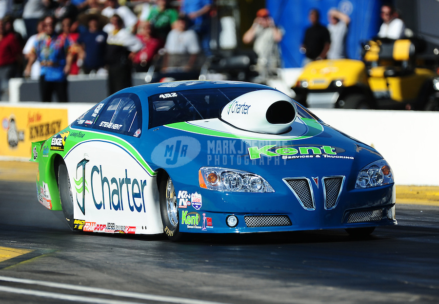 Oct. 14, 2011; Chandler, AZ, USA; NHRA pro stock driver Steve Kent during qualifying at the Arizona Nationals at Firebird International Raceway. Mandatory Credit: Mark J. Rebilas-