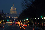 Washington D. C., Capitol Building, night, traffic