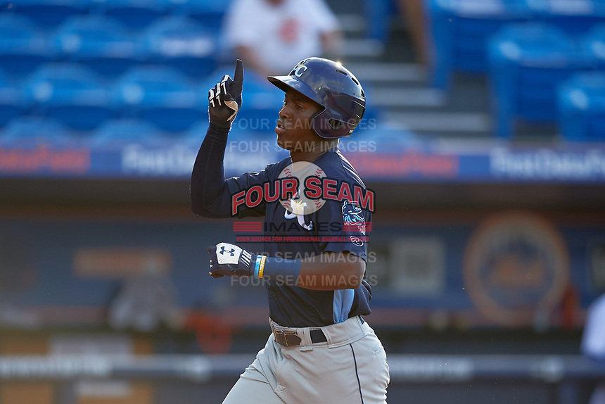 Charlotte Stone Crabs Jesus Sanchez (4) points skyward as he runs home after hitting a home run in the top of the third inning during the first game of a doubleheader against the St. Lucie Mets on April 24, 2018 at First Data Field in Port St. Lucie, Florida.  St. Lucie defeated Charlotte 5-3.  (Mike Janes/Four Seam Images)