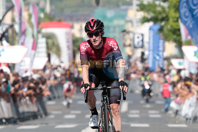 Eddie Dunbar (IRL) Team Ineos crosses the finish line at the end of the 2019 Clasica Ciclista San Sebastian, running 227.3km starting and finishing in Donostia-San Sebastián, Spain. 3rd August 2019.<br /> Picture: Colin Flockton | Cyclefile<br /> All photos usage must carry mandatory copyright credit (© Cyclefile | Colin Flockton)