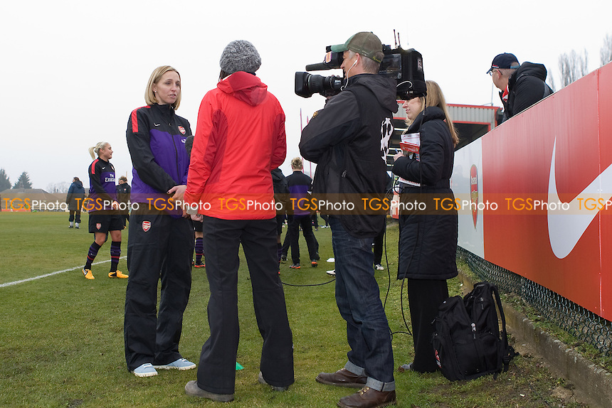 Faye White talks about her retirement to the Press - Arsenal Ladies vs ASD Torres - UEFA Womens Champions League Quarter-Final 1st Leg Football at Boreham Wood FC - 20/03/13 - MANDATORY CREDIT: George Phillipou/TGSPHOTO - Self billing applies where appropriate - 0845 094 6026 - contact@tgsphoto.co.uk - NO UNPAID USE.