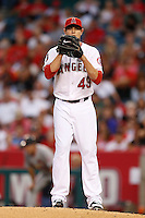 Garrett Richards #43 of the Los Angeles Angels pitches against the St. Louis Cardinals at Angel Stadium on July 3, 2013 in Anaheim, California. (Larry Goren/Four Seam Images)