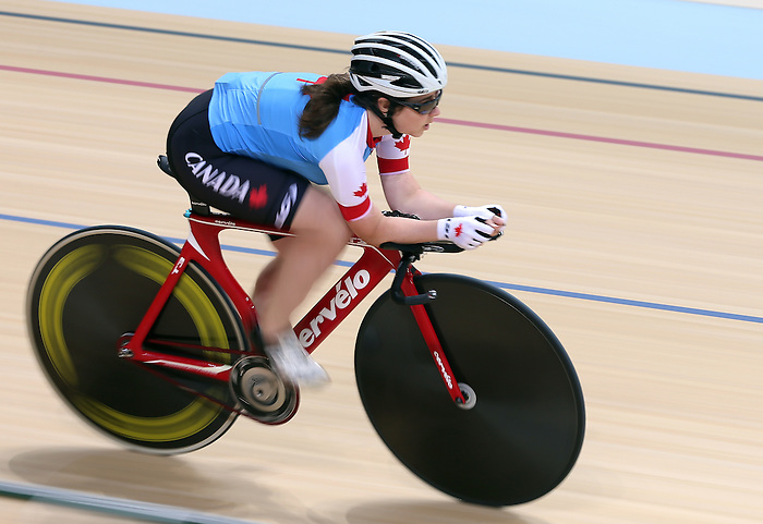 Rio de Janeiro-3/9/2016-Marie-Claude Molnar practices before her cycling event at the Rio 2016 Paralympic Games at the Barra Velodrome. Photo Scott Grant/Canadian Paralympic Committee
