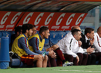 Calcio, Serie A: Lazio vs Roma. Roma, stadio Olimpico, 3 aprile 2016.<br /> Roma's Francesco Totti, second from left, sits on the bench during the Italian Serie A football match between Lazio and Roma at Rome's Olympic stadium, 3 April 2016.<br /> UPDATE IMAGES PRESS/Isabella Bonotto
