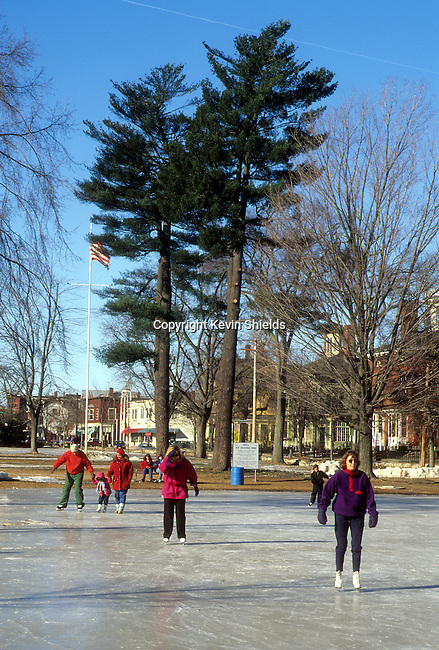 People skating in a park in Brunswick, Maine, USA