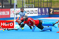 Argentine goalkeeper Juan Vivaldi makes a save during the Hockey World League Semi-Final match between Argentina and Malaysia at the Olympic Park, London, England on 24 June 2017. Photo by Steve McCarthy.