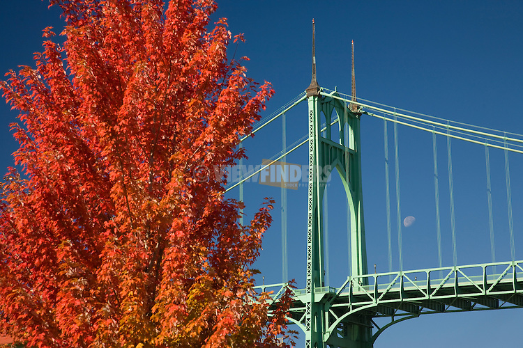 Saint John's Bridge in Autumn Portland, Oregon