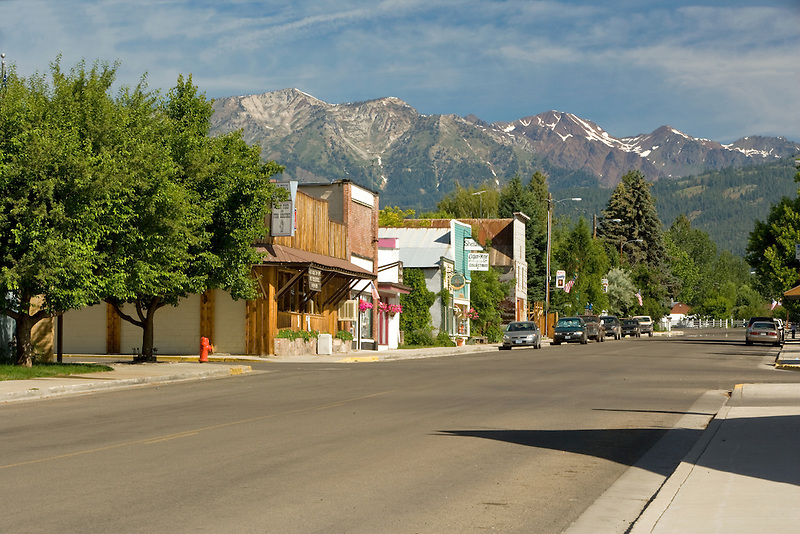 Main street with Wallow Mountains. Halfway, Oregon