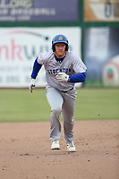 Hunter Hargrove (19) of the Stockton Ports runs the bases during a game against the Inland Empire 66ers at San Manuel Stadium on May 26, 2019 in San Bernardino, California. (Larry Goren/Four Seam Images)