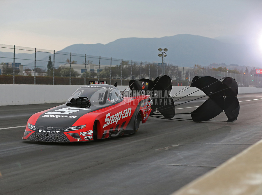 Feb 10, 2018; Pomona, CA, USA; NHRA funny car driver Cruz Pedregon during qualifying for the Winternationals at Auto Club Raceway at Pomona. Mandatory Credit: Mark J. Rebilas-USA TODAY Sports