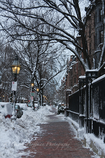 Boston, cleared sidewalk after snow storm.