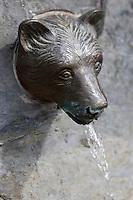 Europe/France/Midi-Pyrénées/65/Hautes-Pyrénées/Vallée d'Aure/Saint-Lary-Soulan:  Détail Fontaine, c'est de la tête d'un ours que l'eau s'écoule
