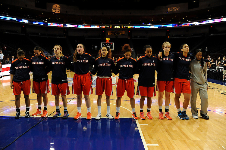 March 6, 2014; Las Vegas, NV, USA; Pepperdine Waves team against the Santa Clara Broncos before the game of the WCC Basketball Championships at Orleans Arena. The Waves defeated the Broncos 80-74.