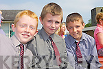 IN THE SUN: Aaron Slemon, Patrick O'Leary and Dylan O'Driscoll at the official opening on Friday of the new autism unit at Scoil Realt na Maidne in Listowel.
