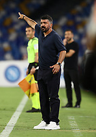 25th July 2020; Stadio San Paolo, Naples, Campania, Italy; Serie A Football, Napoli versus Sassuolo; Lorenzo Insigne of Napoli, Gennaro Gattuso coach of Napoli sends in instructions to his players