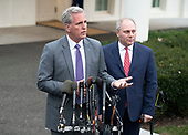 Incoming United States House Minority Leader Kevin McCarthy (Republican of California), left and incoming US House Minority Whip Steve Scalise (Republican of Louisiana) meet reporters at the White House after meeting with US President Donald J. Trump on border security and reopening the federal government at the White House in Washington, DC on Wednesday, January 2, 2018.<br /> Credit: Ron Sachs / CNP