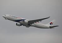 A Malaysia Airlines Airbus A330-323 Registration 9M-MTF at Hong Kong Chek Lap Kok International Airport on 4.4.19 going to Kuala Lumpur International Airport, Malaysia.