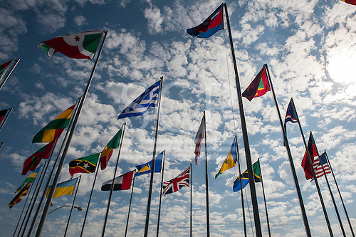 Rio de Janeiro, Brazil, Flags of several nations including the United Kingdom in the grounds of the Rio Centre conference venue. Photo © Sue Cunningham.