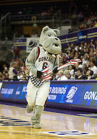 22 March 2010:  Gonzaga mascot Spike entertained the crowed with his air guttier performance during a timeout. Gonzaga won 72-71over Texas A&M in the second round of the NCAA Women's Basketball Tournament held at the Bank of America Arena in Seattle, WA.