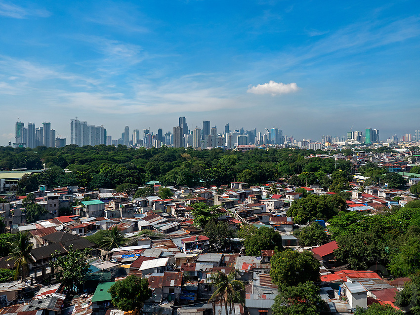 Panoramic Manila Skyline With squatter are in the foreground
