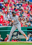 3 April 2017: Miami Marlins outfielder Marcell Ozuna in action against the Washington Nationals on Opening Day at Nationals Park in Washington, DC. The Nationals defeated the Marlins 4-2 to open the 2017 MLB Season. Mandatory Credit: Ed Wolfstein Photo *** RAW (NEF) Image File Available ***