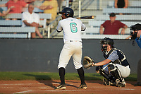 Darien Farley (6) (Caldwell CC) of the Mooresville Spinners at bat against the Carolina Venom at Moor Park on June 22, 2020 in Mooresville, NC.  The Spinners defeated the Venom 7-2. (Brian Westerholt/Four Seam Images)