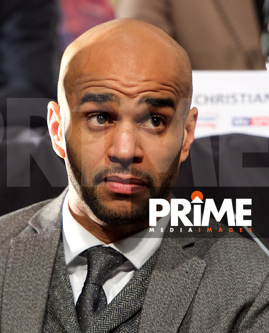 Leon McKenzie during the final press conference ahead of the George Groves v Andrea Di Luisa fight set for Saturday 30th January 2016 at the Copper Box, at Stratford Circus, Theatre Square, England on 28 January 2016. Photo by Alan  Stanford/PRiME Media Images.