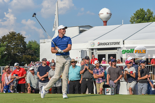 Rory McIlroy (NIR) watches his tee shot on 17 during 4th round of the World Golf Championships - Bridgestone Invitational, at the Firestone Country Club, Akron, Ohio. 8/5/2018.<br /> Picture: Golffile | Ken Murray<br /> <br /> <br /> All photo usage must carry mandatory copyright credit (© Golffile | Ken Murray)