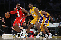 02/22/11 Los Angeles, CA: Atlanta Hawks shooting guard Joe Johnson #2 and  Los Angeles Lakers small forward Ron Artest #15 during an NBA game between the Los Angeles Lakers and the Atlanta Hawks at the Staples Center. The Lakers defeated the Hawks 104-80.