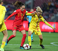 20191008 CLUJ NAPOCA: Belgium's Tessa Wullaert (9) and Romania's Ioana Bortan (4) are battling for the ball at the match between Belgium Women's National Team and Romania Women's National Team as part of EURO 2021 Qualifiers on 8th of October 2019 at CFR Stadium, Cluj Napoca, Romania. PHOTO SPORTPIX | SEVIL OKTEM