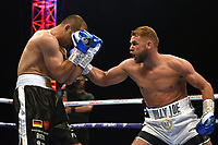 Billy Joe Saunders (white shorts) defeats Shefat Isufi during a Boxing Show at Stevenage Football Club on 18th May 2019