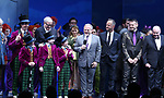Christian Borle, Scott Wittman, Emily Padgett, Marc Shaiman, Basil Twist and Jack O'Brien with cast during the Broadway Opening Performance Curtain Call of 'Charlie and the Chocolate Factory' at the Lunt-Fontanne Theatre on April 23, 2017 in New York City.
