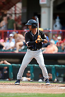Akron RubberDucks third baseman Ivan Castillo (28) at bat during a game against the Erie SeaWolves on August 27, 2017 at UPMC Park in Erie, Pennsylvania.  Akron defeated Erie 6-4.  (Mike Janes/Four Seam Images)