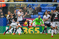 Bolton Wanderers' Mark Beevers blocks a shot from Fulham's Ryan Sessegnon<br /> <br /> Photographer Andrew Kearns/CameraSport<br /> <br /> The EFL Sky Bet Championship - Bolton Wanderers v Fulham - Saturday 10th February 2018 - Macron Stadium - Bolton<br /> <br /> World Copyright &copy; 2018 CameraSport. All rights reserved. 43 Linden Ave. Countesthorpe. Leicester. England. LE8 5PG - Tel: +44 (0) 116 277 4147 - admin@camerasport.com - www.camerasport.com