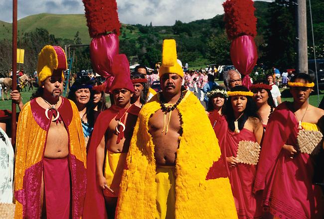 Costumed participants at Paniolo Parade during the Aloha Festival, Waimea, Hawaii Island, Hawaii, United States.