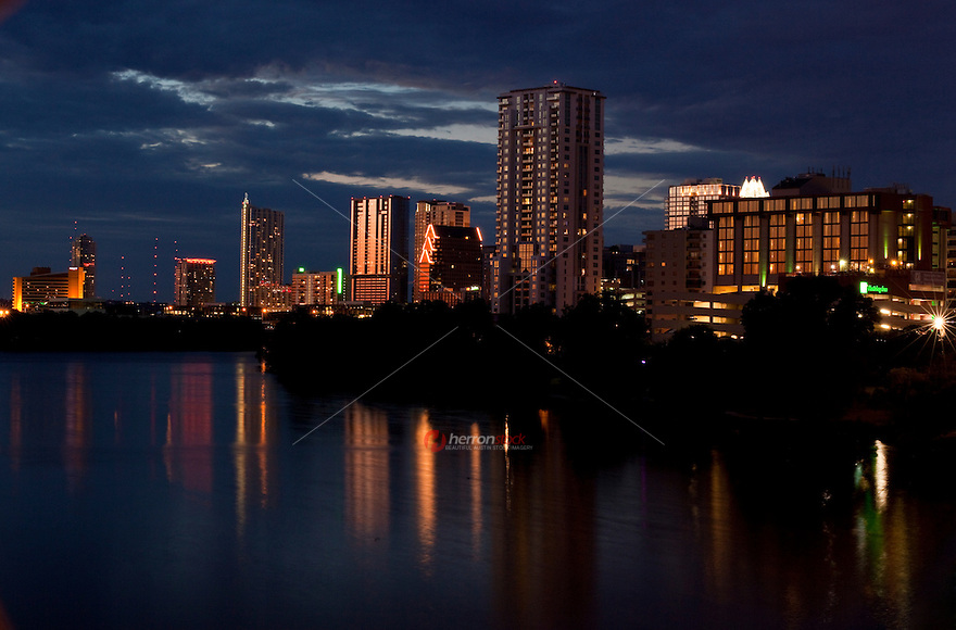 Dusk settles on the Austin Skyline