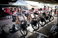 Team Trek-Segafredo (John Degenkolb/Kiel Reijnen &  Niklas Eg) warming up at the stage start in Torrevieja <br /> <br /> Stage 1 (TTT): Salinas de Torrevieja to Torrevieja (13.4km)<br /> La Vuelta 2019<br /> <br /> ©kramon