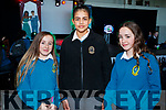 Alannah O'Driscoll, Tara Leonard and Aoibheann Griffin, pictured at Mercy Mounthawk Secondary School Fashion Show held at the School Gym on Wednesday last.
