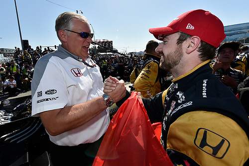2017 Verizon IndyCar Series<br /> Toyota Grand Prix of Long Beach<br /> Streets of Long Beach, CA USA<br /> Sunday 9 April 2017<br /> James Hinchcliffe and Art St Cyr celebrates the win in victory lane<br /> World Copyright: Scott R LePage/LAT Images<br /> ref: Digital Image lepage-170409-LB-7673