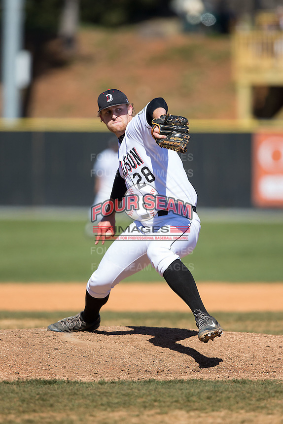 Davidson Wildcats relief pitcher Brian Fortier (28) in action against the Saint Louis Billikens at Wilson Field on March 28, 2015 in Davidson, North Carolina. (Brian Westerholt/Four Seam Images)