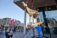 Utrecht, 17 september 2014<br /> Nederlands Film Festival 2014<br /> Beeld van het Gouden Kalf wordt geplaatst voor Tivoli Vredenburg, de nieuwe locatie van het filmfestival.<br /> Regisseur Robert Jan Westdijk (links knielend) maakt een foto.<br /> Foto Felix Kalkman