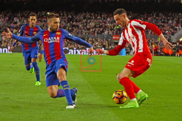 League Santander 2016/2017. Game: 25.<br /> FC Barcelona vs Real Sporting SAD: 6-1.<br /> Jordi Alba vs Burgui.