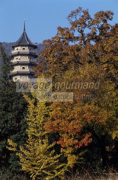 Asie/Chine/Jiangsu/Nankin: Monastère de la Vallée d'Esprit - La pagode<br /> PHOTO D'ARCHIVES // ARCHIVAL IMAGES<br /> CHINE 1990