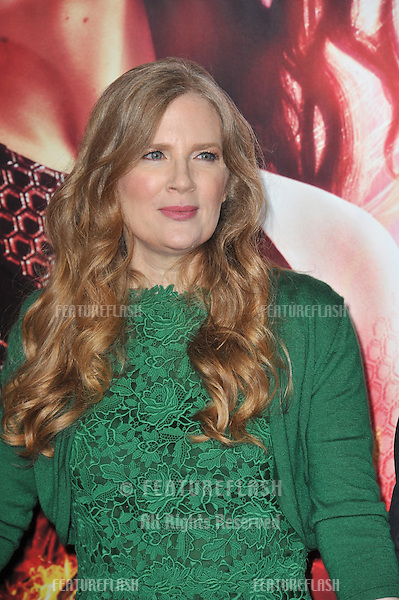 Writer Suzanne Collins at the US premiere of her movie &quot;The Hunger Games: Catching Fire&quot; at the Nokia Theatre LA Live.<br /> November 18, 2013  Los Angeles, CA<br /> Picture: Paul Smith / Featureflash