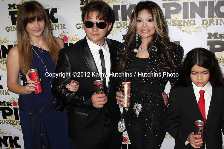 """LOS ANGELES - OCT 11:  Paris Jackson, Prince Michael Jackson, LaToya Jackson, Blanket Jackson arrives at the """"Mr. Pink"""" Energy Drink Launch at Beverly Wilshire Hotel on October 11, 2012 in Beverly Hills, CA"""