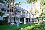 The Halekulani Hotel, the Hawaiian name meaning House Befitting Heaven, located on Waikiki beach in Honolulu, Hawaii offers stunning views of Diamond Head in a historic, secluded and exclusive setting. pictured here is the veiw of La Mer (upstairs) and The Orchid restaurants, two of the three restaurants on the property.