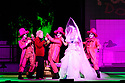 """EMBARGOED UNTIL 23:00 FRIDAY 18 OCTOBER 2019: English National Opera presents """"The Mask of Orpheus"""", by Sir Harrison Birthwhistle, libretto by Peter Zinovieff, at the London Coliseum, in its first London restaging in the 30 years since its premiere, coinciding with the celebration of Sir Harrison's 85th birthday. Directed by Daniel Kramer, with lighting design by Peter Mumford, set design by Lizzie Clachan and costume design by Daniel Lismore. Picture shows: Peter Hoare (Orpheus the Man) and Marta Fontanals-Simmons (Eurydice the Woman) with David Ireland, William Morgan and Simon Wilding (the Judges of the Dead)."""